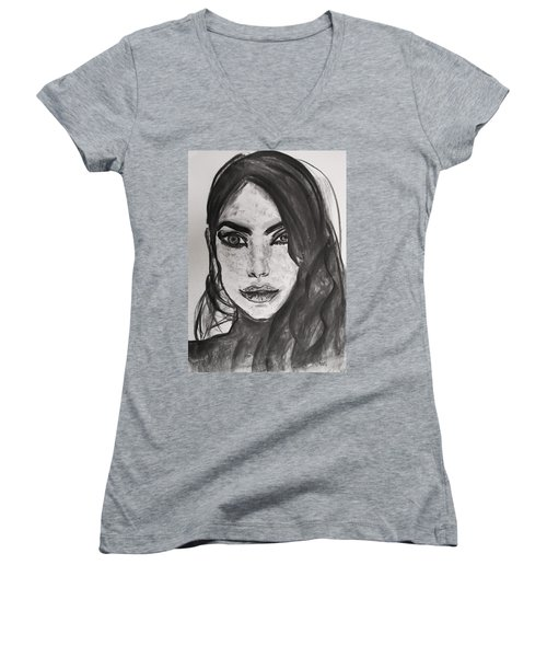 Women's V-Neck T-Shirt featuring the painting Wintertime Sadness by Jarko Aka Lui Grande