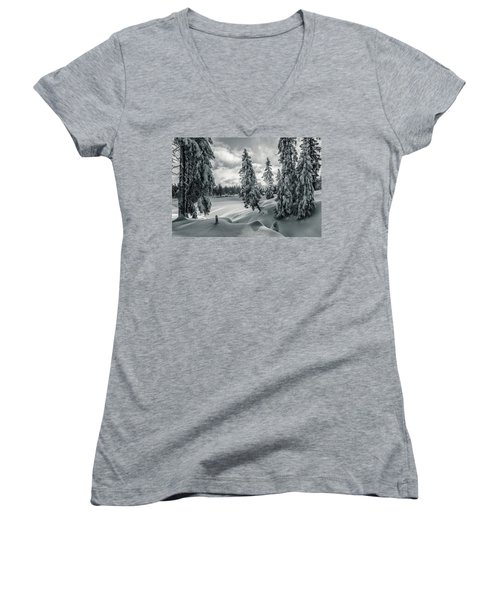 Winter Wonderland Harz In Monochrome Women's V-Neck T-Shirt (Junior Cut) by Andreas Levi
