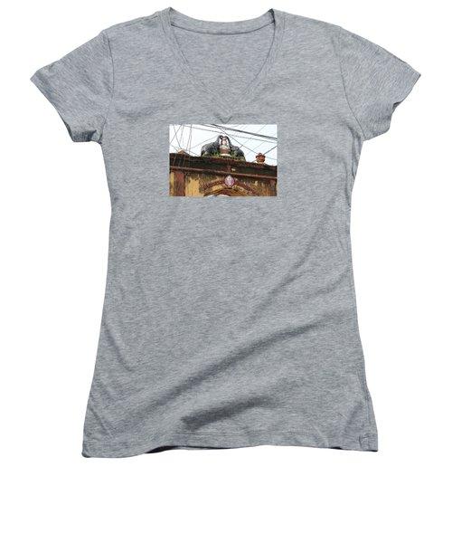 Wires And Lakshmi At Devi Temple, Kochi Women's V-Neck T-Shirt (Junior Cut) by Jennifer Mazzucco