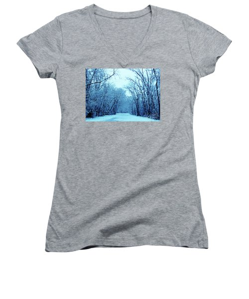 Wisconsin Frosty Road In Winter Ice Women's V-Neck (Athletic Fit)