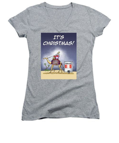 Women's V-Neck featuring the digital art Wise Man Trailer by Mark Armstrong