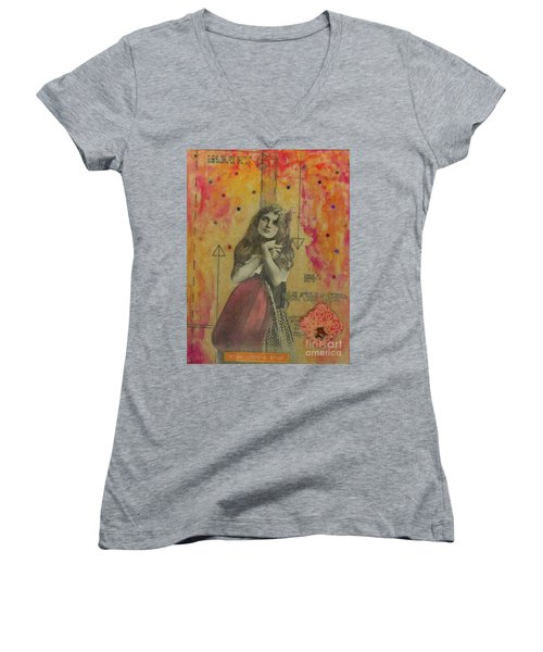 Women's V-Neck T-Shirt (Junior Cut) featuring the mixed media Wish Upon A Star by Desiree Paquette