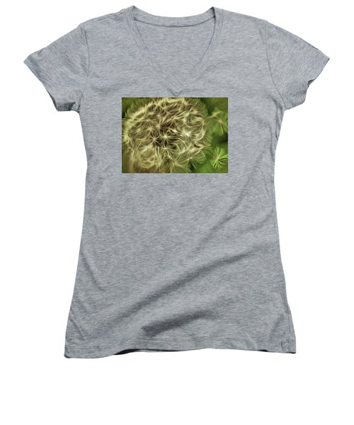 Women's V-Neck T-Shirt (Junior Cut) featuring the mixed media Wishies by Trish Tritz