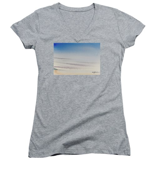 Women's V-Neck featuring the painting Wisps Of Clouds At Sunset Over A Calm Bay by Dorothy Darden