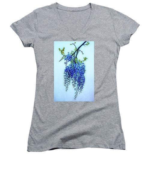 Women's V-Neck T-Shirt (Junior Cut) featuring the photograph Wisteria by Chris Lord