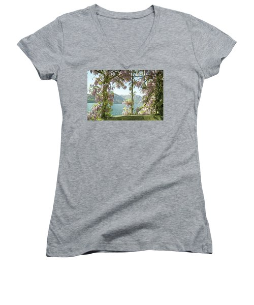 Wisteria Trellis Lago Di Como Women's V-Neck T-Shirt (Junior Cut) by Brooke T Ryan