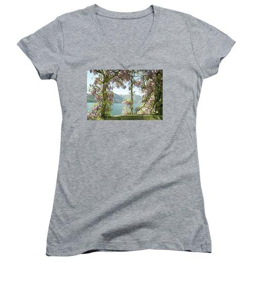 Wisteria Trellis Lago Di Como Women's V-Neck T-Shirt