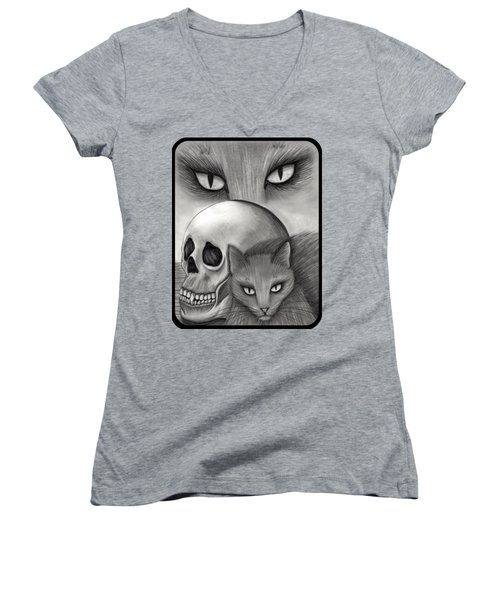 Witch's Cat Eyes Women's V-Neck T-Shirt (Junior Cut) by Carrie Hawks
