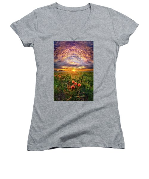 Women's V-Neck T-Shirt (Junior Cut) featuring the photograph With Gratitude by Phil Koch