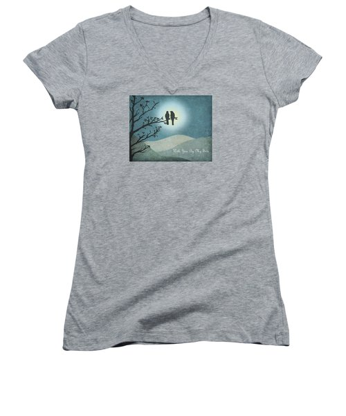 With You By My Side Landscape View Women's V-Neck T-Shirt (Junior Cut) by Christina Lihani
