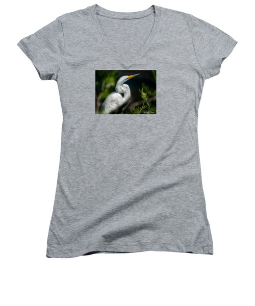 Women's V-Neck T-Shirt (Junior Cut) featuring the photograph White Egret 2 by Christopher Holmes