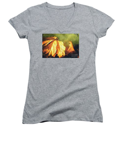 Women's V-Neck T-Shirt featuring the photograph Withered Leaves by Silvia Ganora