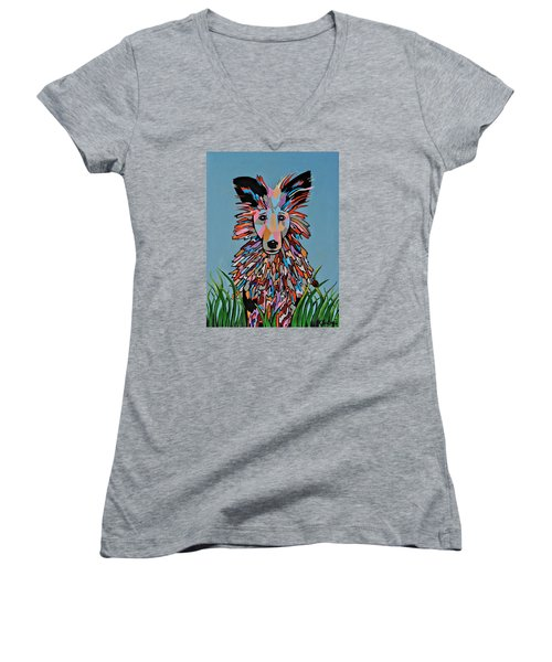 Women's V-Neck T-Shirt (Junior Cut) featuring the painting Wiz by Kathleen Sartoris