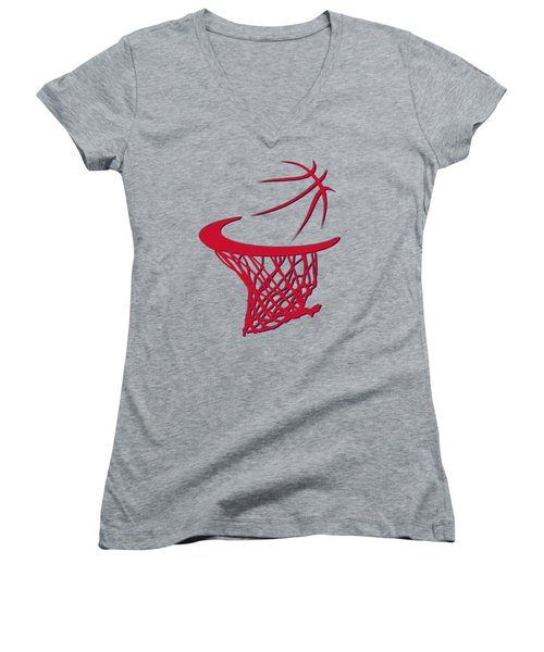 Wizards Basketball Hoop Women's V-Neck T-Shirt (Junior Cut) by Joe Hamilton