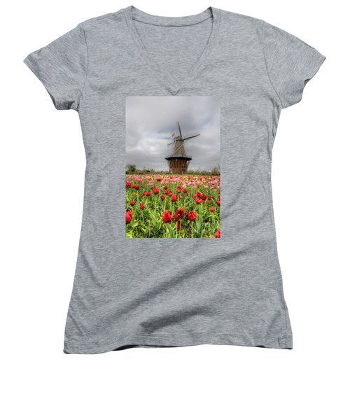 Women's V-Neck T-Shirt (Junior Cut) featuring the photograph Wjndmill Island 2 by Robert Pearson