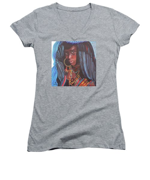 Women's V-Neck T-Shirt (Junior Cut) featuring the painting Wodaabe Girl by Sigrid Tune