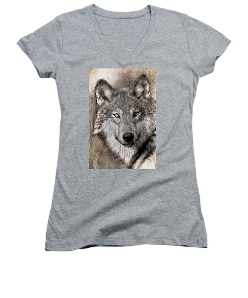 Aaron Berg Women's V-Neck T-Shirt (Junior Cut) featuring the digital art Wolf  by Aaron Berg