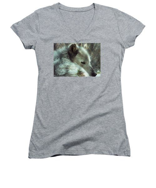 Wolf At Rest Women's V-Neck (Athletic Fit)