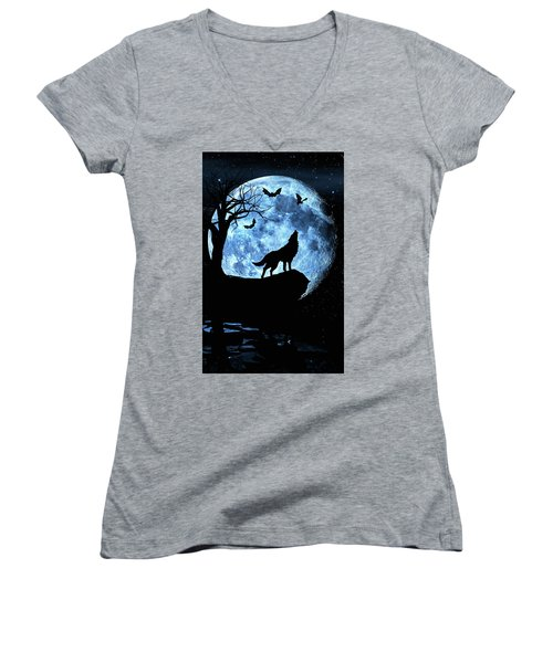 Women's V-Neck T-Shirt (Junior Cut) featuring the photograph Wolf Howling At Full Moon With Bats by Justin Kelefas