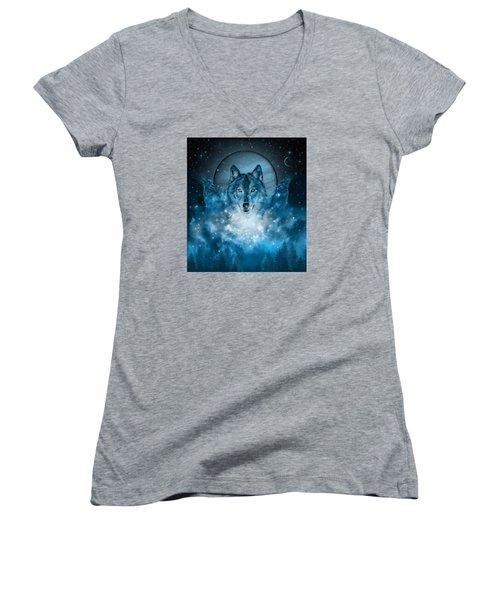 Wolf In Blue Women's V-Neck T-Shirt (Junior Cut) by Bekim Art