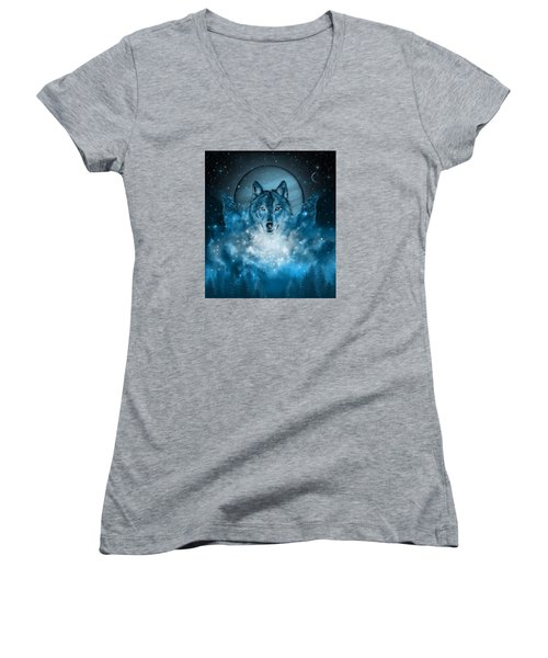 Wolf In Blue Women's V-Neck (Athletic Fit)