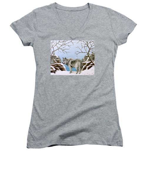 Women's V-Neck T-Shirt (Junior Cut) featuring the painting Wolf In Winter by Teresa Wing