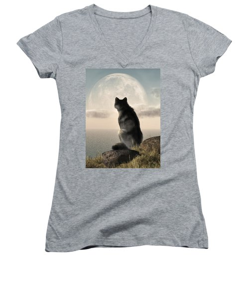 Wolf Watching The Moonrise Women's V-Neck