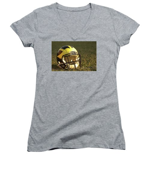 Women's V-Neck (Athletic Fit) featuring the photograph Wolverine Helmet In Morning Sunlight by Michigan Helmet