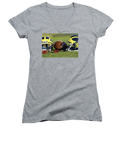 Wolverine Helmets And Roses Women's V-Neck (Athletic Fit)