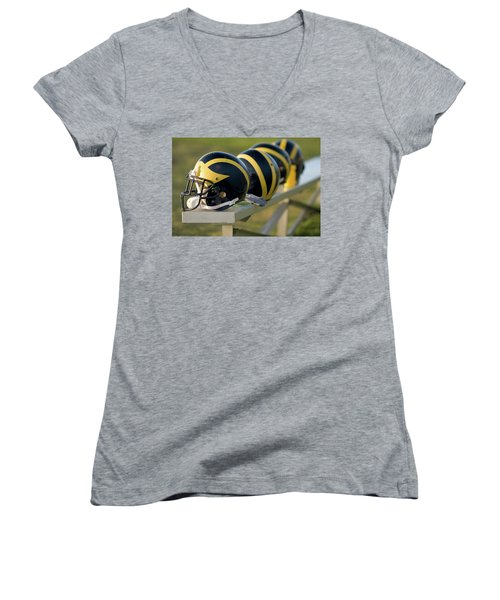 Wolverine Helmets On A Bench Women's V-Neck (Athletic Fit)