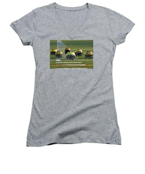 Wolverine Helmets Throughout History On The Field Women's V-Neck (Athletic Fit)