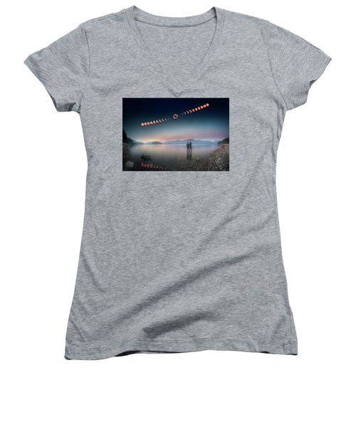 Woman And Girl Standing In Lake Watching Solar Eclipse Women's V-Neck