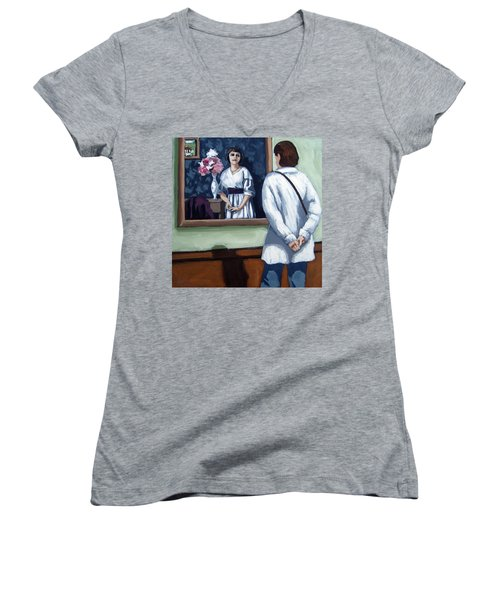 Women's V-Neck T-Shirt (Junior Cut) featuring the painting Woman At Art Museum Figurative Painting by Linda Apple
