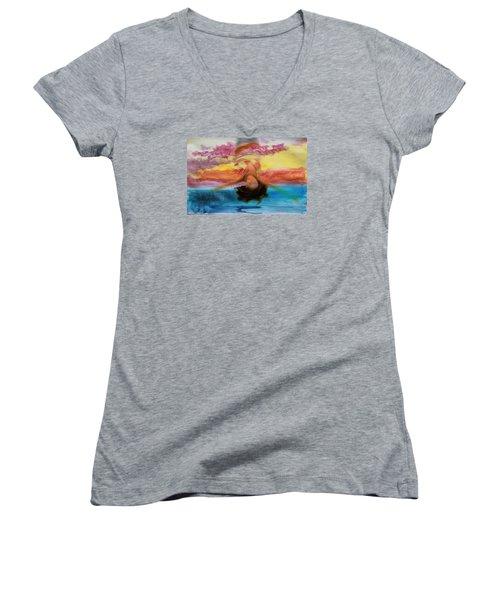 Woman Engulfed Women's V-Neck T-Shirt (Junior Cut) by Bob Pardue