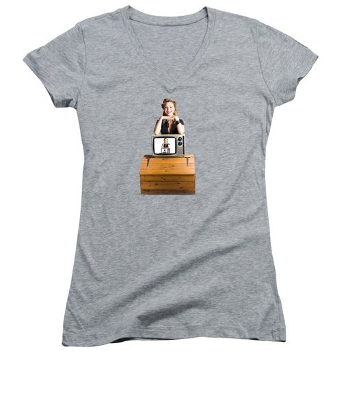 Woman  In Front Of Tv Camera Women's V-Neck T-Shirt (Junior Cut) by Jorgo Photography - Wall Art Gallery