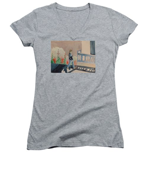 Woman Walking Down Nusbaum Street Women's V-Neck T-Shirt