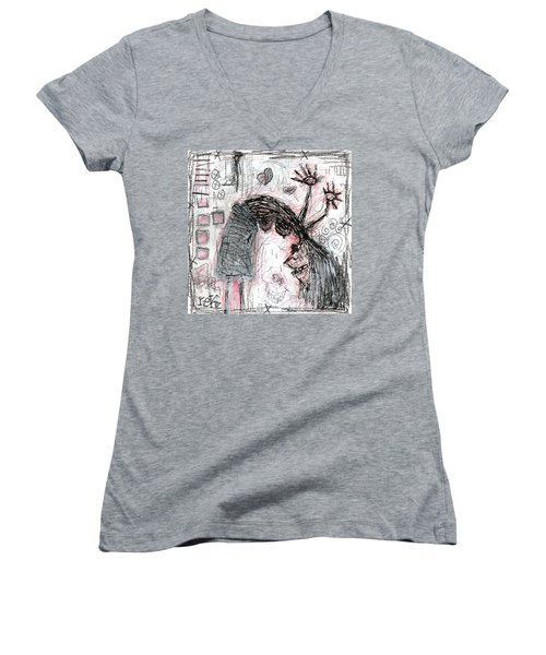 Woman Walking Upside Down Women's V-Neck (Athletic Fit)