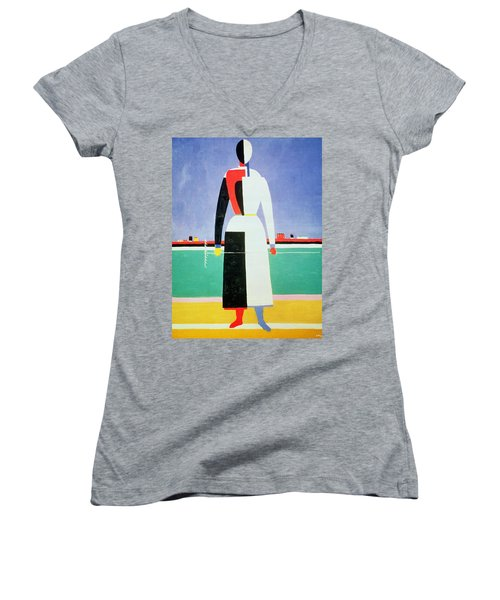 Woman With A Rake Women's V-Neck (Athletic Fit)