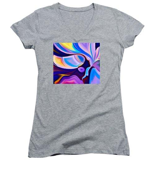 Women's V-Neck T-Shirt (Junior Cut) featuring the digital art Women by Karen Showell