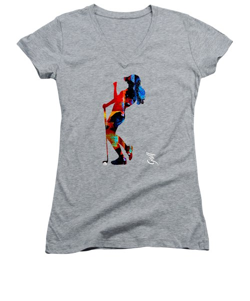 Womens Golf Collection Women's V-Neck T-Shirt (Junior Cut) by Marvin Blaine