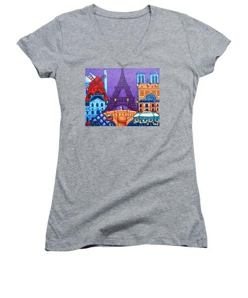 Wonders Of Paris Women's V-Neck T-Shirt