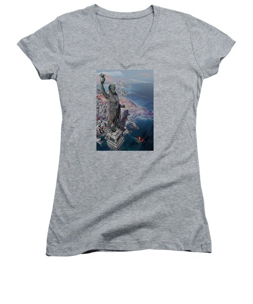 Women's V-Neck T-Shirt (Junior Cut) featuring the digital art wonders the Colossus of Rhodes by Te Hu