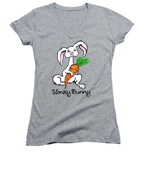 Wonky Bunny Carrot Women's V-Neck (Athletic Fit)