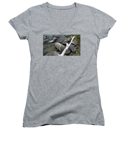 Wood And Rocks In Water Women's V-Neck