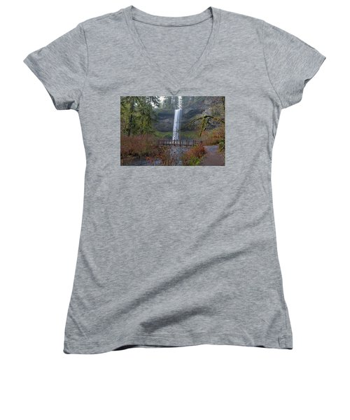 Wood Bridge On Hiking Trail At Silver Falls State Park Women's V-Neck (Athletic Fit)