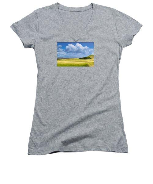 Wood Copse On A Hill Women's V-Neck T-Shirt (Junior Cut) by John Williams