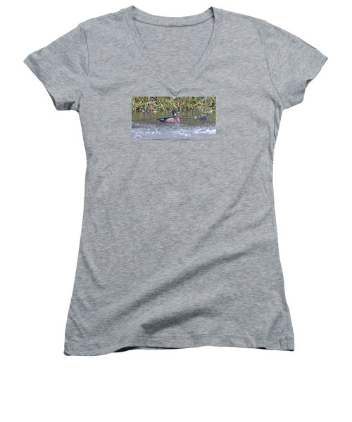 Women's V-Neck T-Shirt (Junior Cut) featuring the photograph Wood Duck by Jerry Cahill