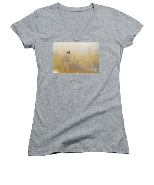 Women's V-Neck T-Shirt (Junior Cut) featuring the photograph Wood Duck On Golden Pond by Larry Ricker