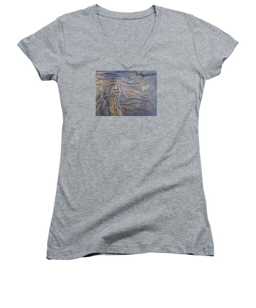 Women's V-Neck T-Shirt (Junior Cut) featuring the painting Wood Face  by Steve  Hester