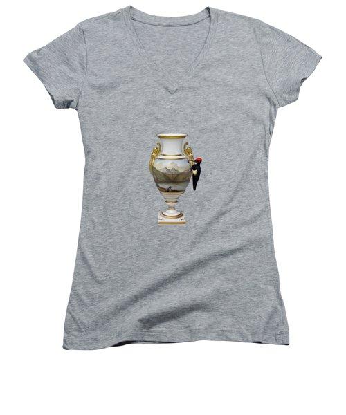 Wood Pecker's Dream Women's V-Neck T-Shirt (Junior Cut) by Keshava Shukla